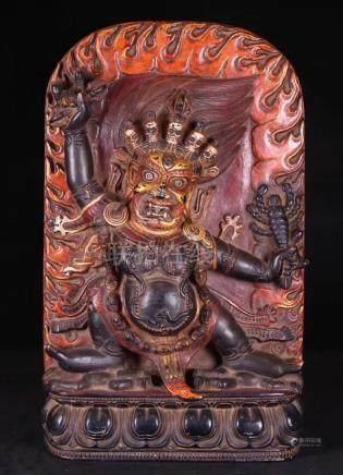 A STONE CARVED TIBET BUDDHA STATUE