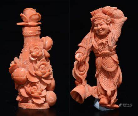 "A lot of two small carved corals, a ""vase and flowers"" snuff bottle and a bell player figure, China, early 20th century"