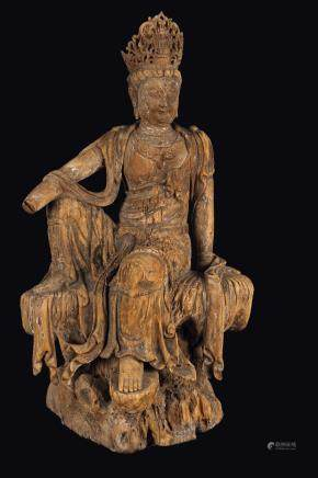 A large figure of seated Guanyin, China, probably Song Dynasty (960-1279)