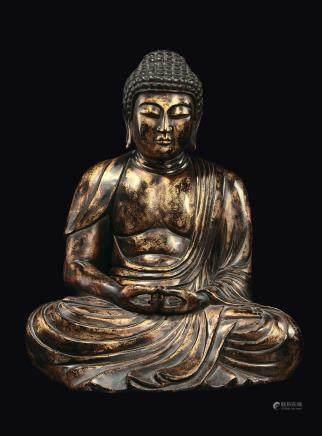 A gilt-lacquered wood Buddha figure, Korea, Choson Dynasty, 18th/19th century