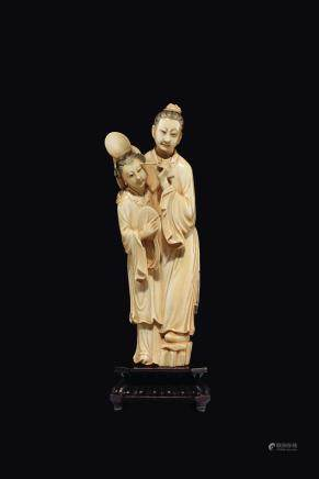 "A carved ivory ""Guanyin and child toilette"" group, China, Qing Dynasty, 19th century"