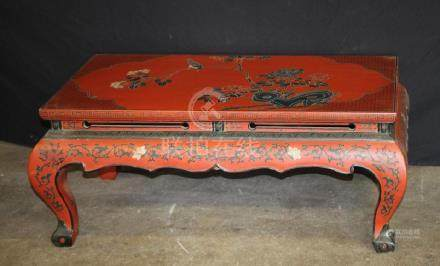 Red Lacquer Coffee Table W/ Floral Design