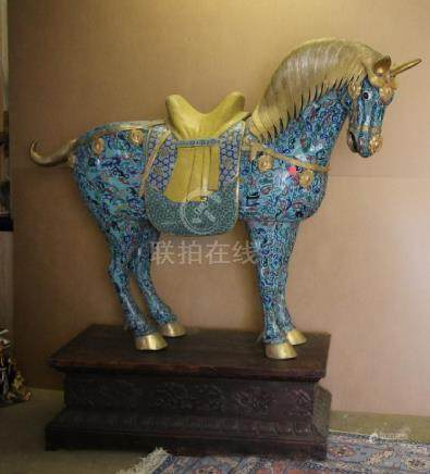Large Cloisonne Bronze Horse W/ Wood Base