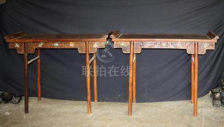 Pair of Hardwood Table W/ Jade Inlaid