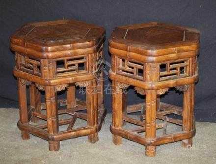 Pair of Wooden Hexagon Shape Stools