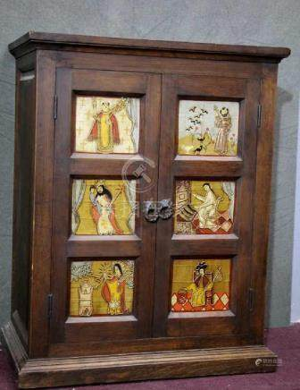 Wood Cabinet w Beautiful Hand Painting
