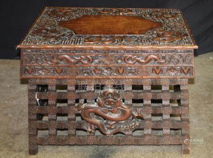 Teakwood folding Table w/ Dragon Design