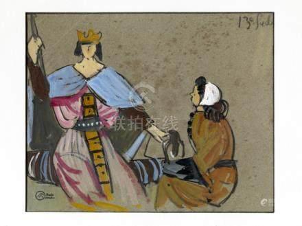 """Mathurin Meheut (1882-1958). """"Le treizième siècle"""". Gouache sur papier gris, signée en bas à"""