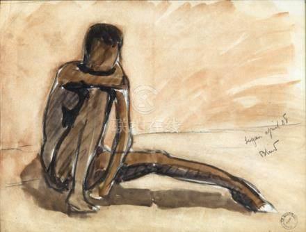 """Maurice Le Scouézec (1881-1940). """"Jeune africain assis"""". Fusain et aquarelle signé en bas à"""