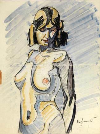 """Maurice Le Scouézec (1881-1940). """"Nu féminin"""". Fusain et aquarelle signé en bas à droite du"""
