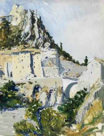 """Maurice Le Scouézec (1881-1940). """"Sisteron"""". Aquarelle et gouache signée en bas à droite, si"""