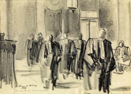 """Pierre de Belay (1890-1947). """"La galerie marchande"""". Fusain sur papier signé et titré en bas"""