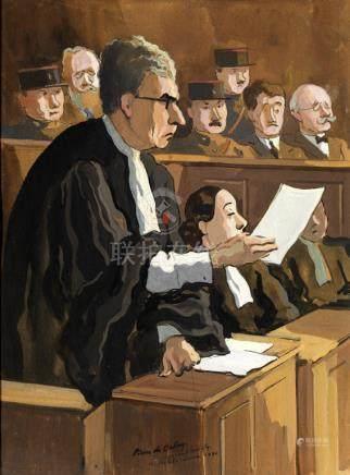 """Pierre de Belay (1890-1947). """"Le procès Stavisky"""". Dessin, gouache et aquarelle signée au mi"""