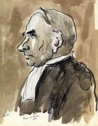 """Pierre de Belay (1890-1947). """"Portrait de Maître Lesrel au procès Stavisky"""". Fusain et aquar"""