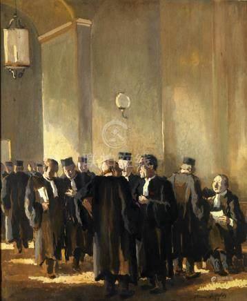 """Pierre de Belay (1890-1947). """"Au palais"""". Gouache signée en bas à droite et datée 1935. 52,5"""