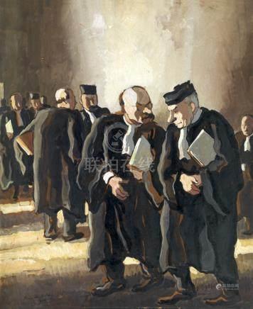 """Pierre de Belay (1890-1947). """"Les avocats"""". Gouache signée en bas à gauche et datée 1936. 53"""
