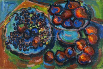 """Pierre de Belay (1890-1947). """"Nature morte aux fruits"""". Huile sur toile signée en haut à gau"""