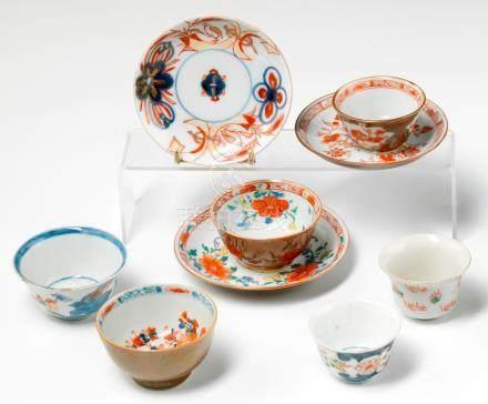 Sorbets et soucoupes en porcelaine. Chine. XVIIIe siècle. Trois sorbets et deux soucoupes en