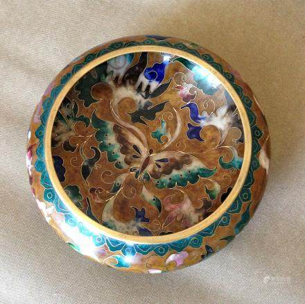 A COPPER CLOISONNE ENAMEL WRITING BRUSH WASHER