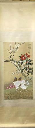 """YU JIGAO FINE BRUSHWORK FLOWER & BIRD """"HE PIN XIN CHUN, CHA HUA MEI HUA SHUANG GE"""""""