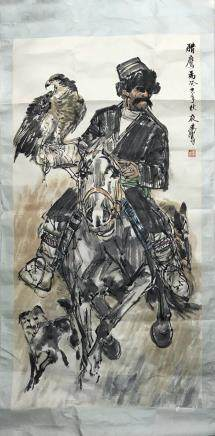 "HUANG ZHOU ""THE FALCON"", PAINTED IN 1983"