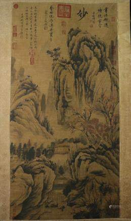 AN OLD TIBETAN LANDSCAPE PATTERN PAINTING