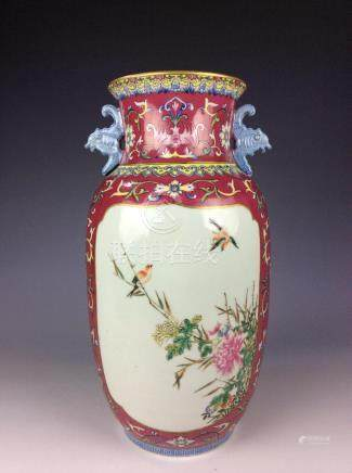 Chinese rouge red vase with flowers and birds mark on