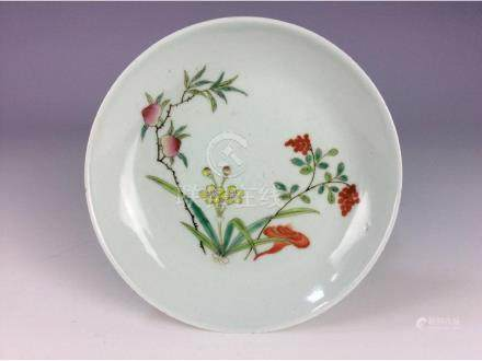 Late Qing 20C  Chinese porcelain palte, famille rose,
