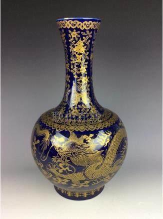 Large Chinese blue ground glaze porcelain vase,