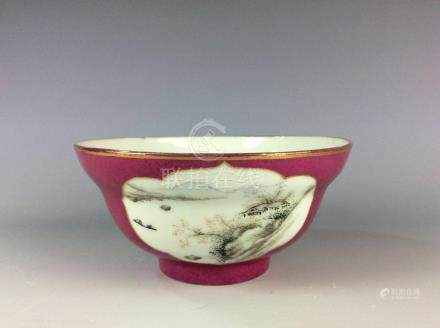 Chinese rouge red bowl with landscaping and mark