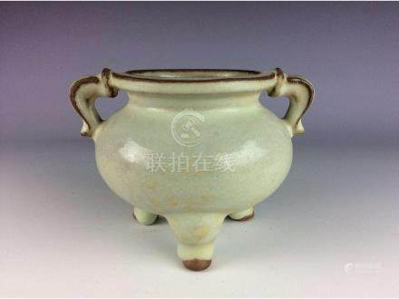 Chinese porcelain Song Guan style,  moon white  glazed,