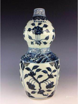 Chinese blue and white porcelain double gourd bottle,