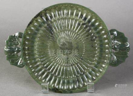 Chinese spinach jade plate, carved in the form of a chrysanthemum blossom, flanked by bat form