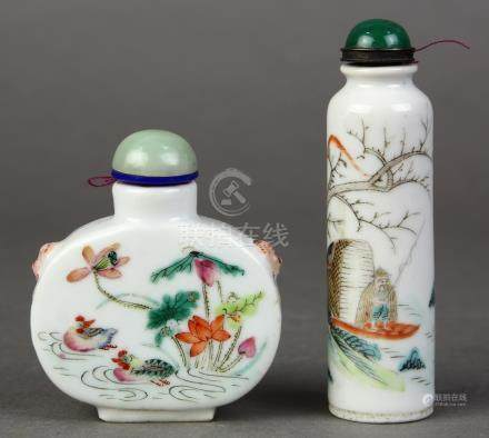 (lot of 2) Chinese enameled porcelain snuff bottles: the first, of flattened ovoid form featuring