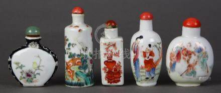 (lot of 5) Chinese enameled porcelain snuff bottles: the first, depicting a ship, base with Daoguang