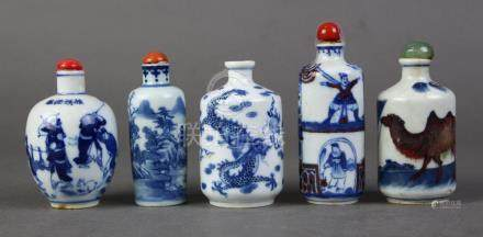 (lot of 5) Chinese underglaze blue porcelain snuff bottles: first of a battle scene; second, of