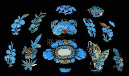 (lot of 12) Chinese kingfisher feather hair ornaments, consisting of one butterfly, and the