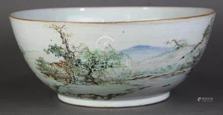 Chinese enameled large porcelain bowl, with landscape executed in the qianjiangcai palette, with
