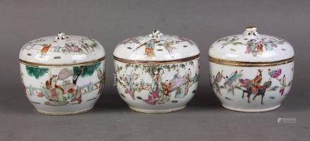 (lot of 3) Chinese enameled porcelain lidded tureens, each depicting figures in a garden setting,