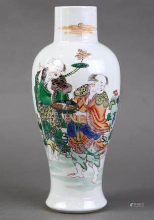 Chinese famille verte porcelain vase, of meiping form featuring Hehe Erxian holding a lotus and box,