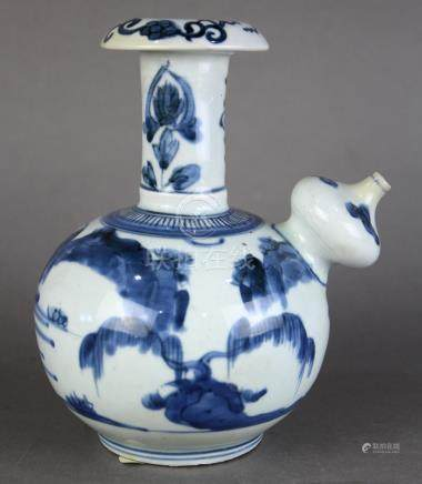 Chinese underglaze blue porcelain kendi, the ritual pouring vessel with an everted rim above the