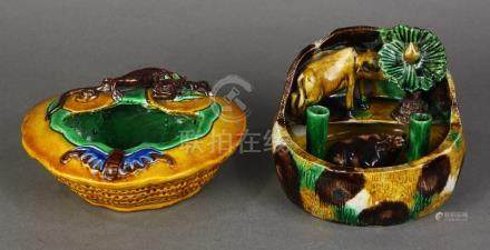 (lot of 2) Chinese susancai glazed ceramic scholar's items: the first, a pen holder/washer,