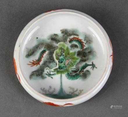 Chinese enameled porcelain brush washer, the interior with a meandering green dragon, exterior
