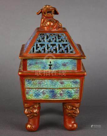 Chinese enameled porcelain censer, the openwork lid surmounted with a fu-lion finial, the square