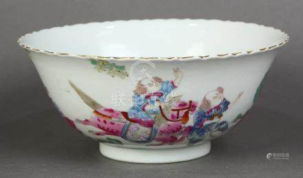 Chinese enameled porcelain bowl, with a foliate rim, the exterior wall depicting figures mounted