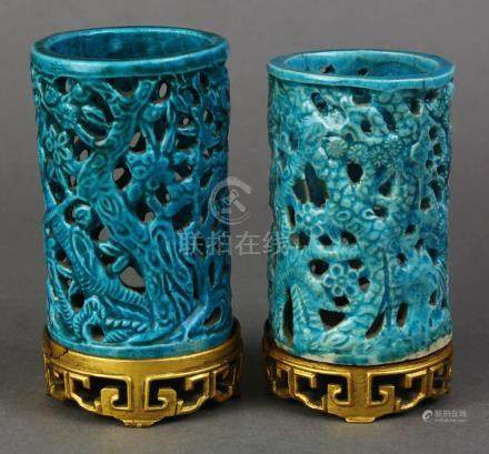 (lot of 2) Chinese blue glazed brush pot, of cylinder form carved with pine trees and blossoms, each