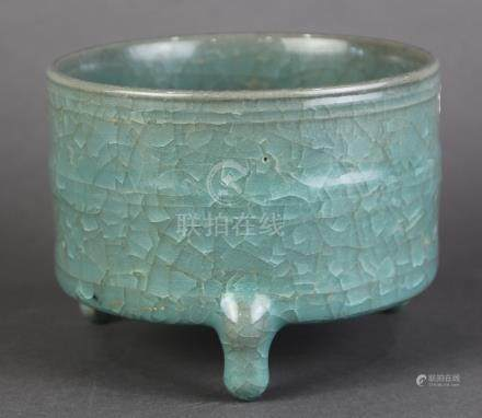 Chinese Guan-type cylindrical ceramic censer, the cylindrical body with horizontal bands, raised