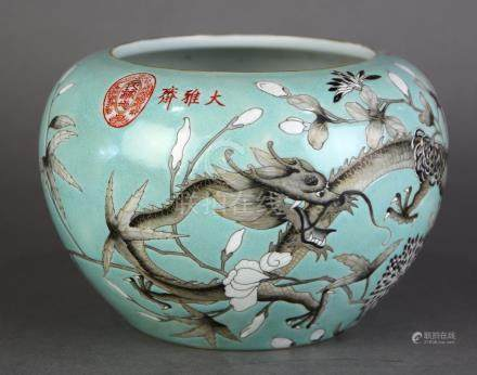 Chinese porcelain brush washer, of dragons and flowers in grisaille on a turquoise ground,