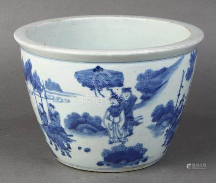 Chinese underglaze blue porcelain fish bowl, the exterior featuring a group of children in front