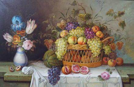 STILL LIFE WITH FRUIT BASKET AND TULIP BOUQUET ON STONE PLAT